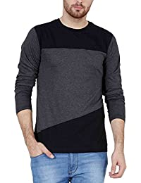 Fashion Freak Full Sleeve T Shirt For Men Stylish Cross Pattern Style Grey Black Colour (FF008)