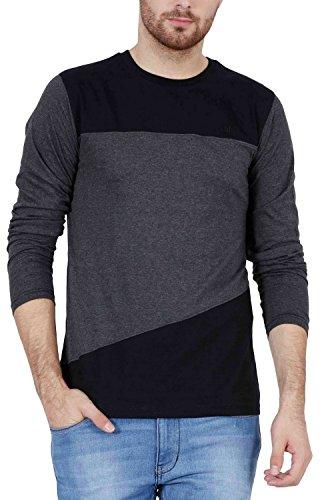 Fashion Freak Men's Cotton Full Sleeves T-Shirt (Black and Charcoal Grey XXL)