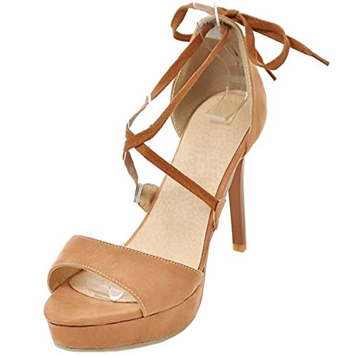 COOLCEPT Femme Mode Croise Sandales Talon Aiguille Peep Toe Plateforme Chaussures Camel