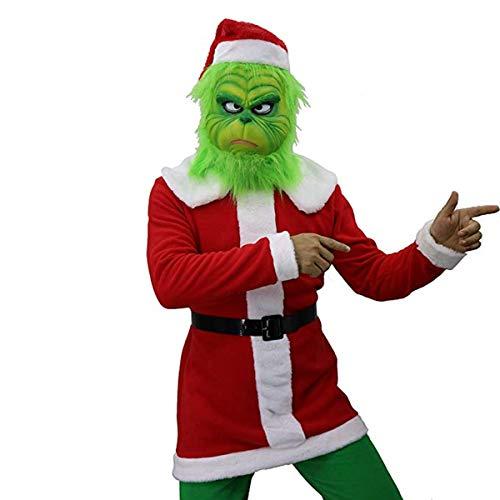 FUGUI Rosenmontag Karneval Kostüm, Grinch Kostüm, Weihnachten Grinchmaske Grinch Latex Maske Kostüm Mask + Weihnachtsmütze + Weihnachtsoutfit + Gürtel + Grüne Handschuhe (B, - Der Grinch Kostüm