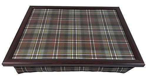 gris brun Tartan dessiné résistant à la chaleur Plateau fait à la main acajou 42.5cm x 33cm