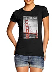 TWISTED ENVY San Francisco Golden City Women's Novelty 100% Cotton T-Shirt, Crew Neck, Comfortable and Soft Classic Tee with Unique Design