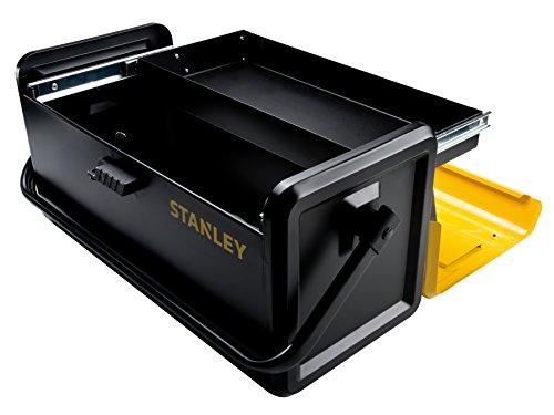 """Stanley Werkzeugbox / Werkzeugkoffer (19\"""", 47.1x22.1x23.6cm, Metall-Werkzeugkasten mit Schublade, einhändig bedienbarer Koffer, Box mit Schnellverschluss, Koffer für Werkzeuge)  STST1-75509"""