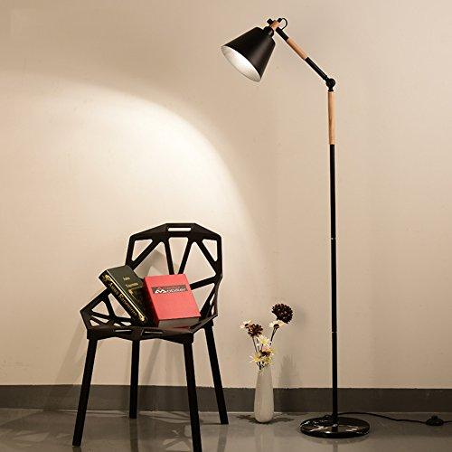 Lampe Cailin, Lampe de plancher Style européen LED Art en bois Verrouillage vertical des feux de métal Créatif Salle de séjour Chambre Éclairage d'étude Lampe de sol intérieure ( Couleur : Noir )