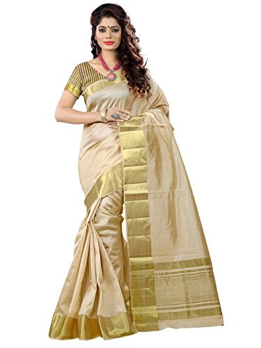 e-VASTRAM Women's Tassar Silk Saree With Zari Blouse(TACR_Beige)