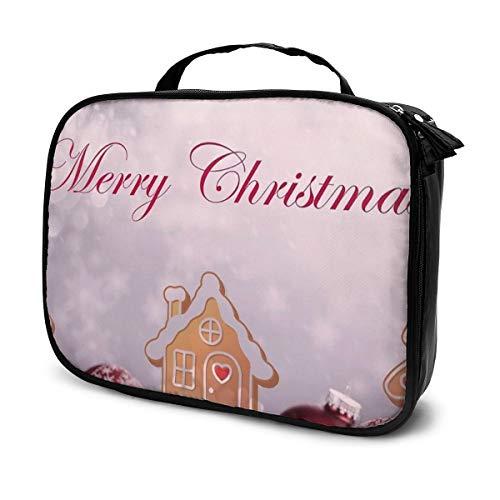 Merry Christmas Dekorative Fotokunst Professionelle große Make-up-Tasche, Make-up-Tasche, wasserdicht, Organizer, Kosmetiktasche für Männer und Frauen