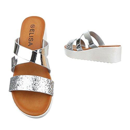 Pantoletten Damen Schuhe Jazz & Modern Keilabsatz/ Wedge Keilabsatz Ital-Design Sandalen / Sandaletten Silber