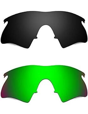 Hkuco Plus Mens Replacement Lenses For Oakley M Frame Heater Black/Emerald Green Sunglasses