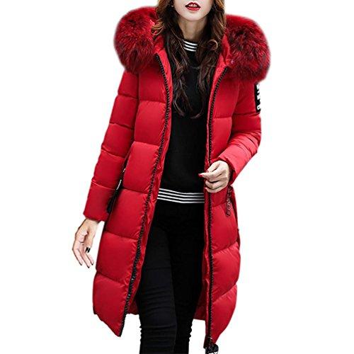 Reaso Femme Manteau Hiver Chaud Doudoune Casual Parka Eegant Pullover Epaisse Mi-Longue avec Capuche Fausse Fourrure Blouson Veste Fashion Down Jacket Sweatshirt (3XL, Rouge)