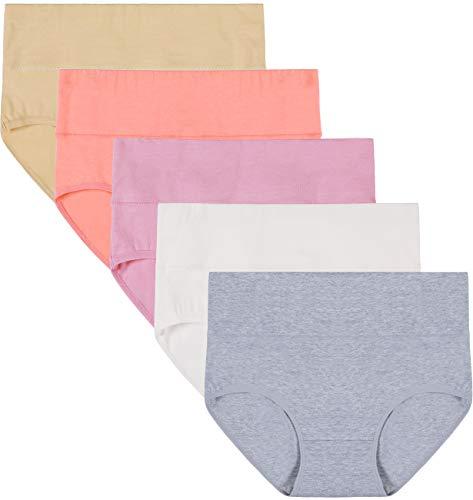 INNERSY Damen Unterwäsche 5Pack Hohe Taille Einfarbig Grundlegende Stil Tummy Control Cotton Briefs Höschen (S-EU 38, Color 5Y) (Damen Hoch Taillierte Höschen)
