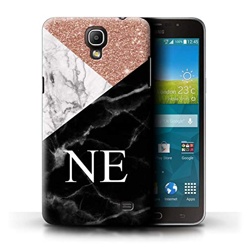 Stuff4® Personalisiert Individuell Roségold Glitter Marmor Hülle für Samsung Galaxy Mega 2 / Geometrisches Monogramm Design/Initiale/Name/Text Schutzhülle/Case/Etui