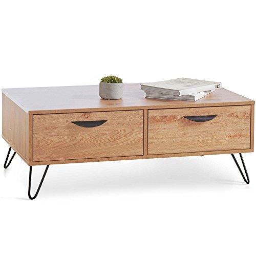 Vonhaus — Table Basse Capri —2 tiroirs coulissants — Poignées Noires ergonomiques — Pieds en épingle Type « Hairpin Legs » —Imitation chêne — Mobilier de Salon au Design rétro/Vintage/scandinave