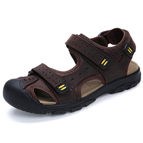 Men's High Quality Genuine Leather Cut Out Breathable Sandal Dark Brown