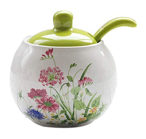 Koala Superstore Agitatori di sale di fiori dipinti a mano in vaso creativo europeo in ceramica, verde