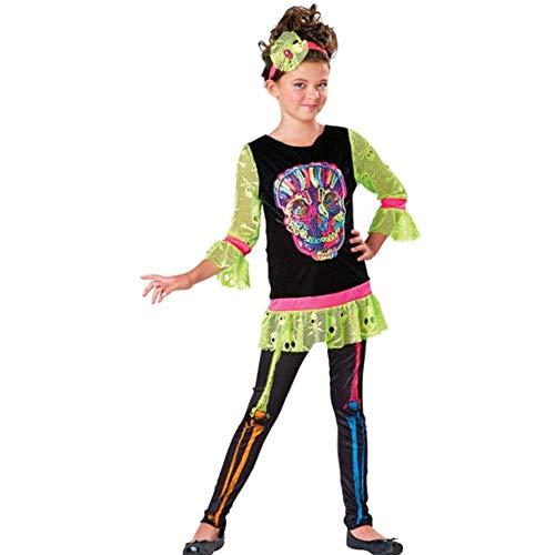 eleton Mädchen Halloween Fasching Karneval Kostüm Neon Bunt Fun Skelett (98-104) ()