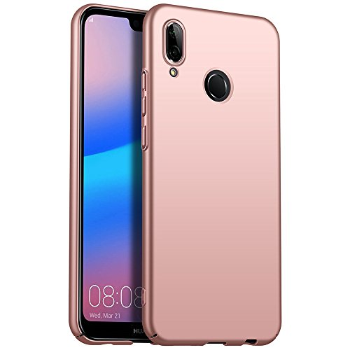 for Huawei P20 lite/Nova 3e Hülle, ZUERCONG [Matte Serie] Ultra Dünn Slim Cover Case Anti-Scratch Shockproof Handytasche Hartplastik Schutzhülle für Huawei P20 lite/Nova 3e, Glattes Roségold
