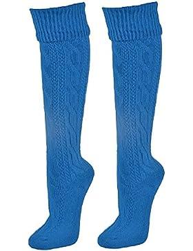 Trachtensocken mit Zopfmuster knielang - Farbige Strümpfe zu Dirndl und Lederhose