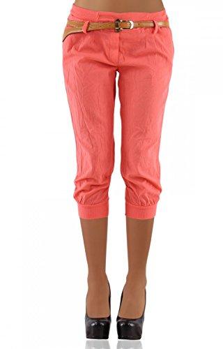 DANAEST Damen Chino Capri Hose inkl. Gürtel ( 276 ), Grösse:XL / 42;Farbe:Light-Coral