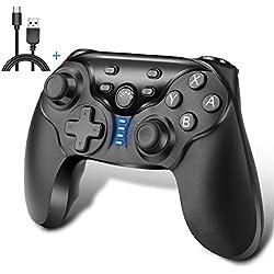 iAmer Manette pour Nintendo Switch, Switch Wireless Bluetooth Gamepad Controller,Manette de Jeu à Fonction Double Vibration/Turbo/Gyroscope (Noir)