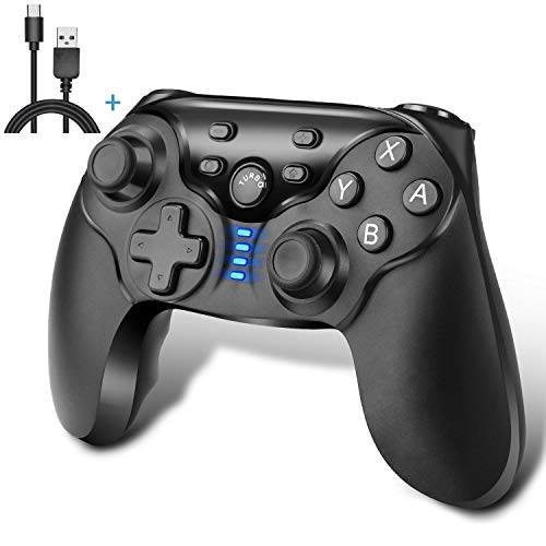 r Nintendo Switch, Kabelloser Bluetooth Switch Pro Controller, Wireless Gamepad Joystick mit Wiederaufladbarer Akku, Doppelmotor, Axis Gyro und Turbo Funktionen ()