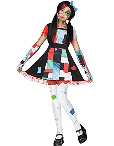 Fun World Rag Doll Sally Girls Halloween Costume-M Medium 8-10 (Costume World)
