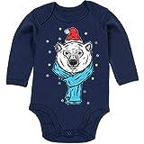 Shirtracer Tiermotive Baby - Eisbär mit Mütze und Schal - 12-18 Monate - Navy Blau - BZ30 - Baby Body Langarm