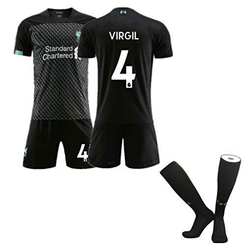 Jugend Fußball Kostüm - FNINES Fußball-Kostüm, Fußball-Trikots Liverpool 2019-2020 New Season Personalized Customized Für Jugend Und Jungen Und Kind Fußball Short Sleeve,No.4,S