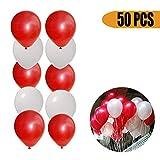 NUOLUX 50pcs 16 pouces Round Latex Ballons pour Fête Noel Anniversaire Décoration (rouge + blanc perlé)