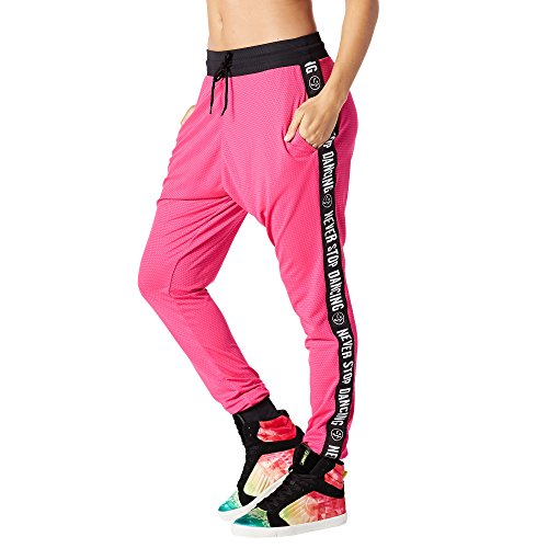 Zumba Fitness Damen When The Sun Goes Down Mesh Jogger Pants Frauenhose, Shocking Pink, XL -