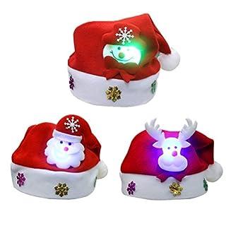 BESTOYARD LED-Hut für Weihnachten, Blinker, Party, Urlaub, beleuchtet, 3 Stück