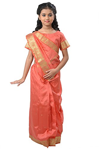 Pratima Girl's Party Wear Coral Pink with Jari border silk Ready made...
