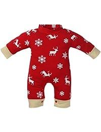 AIMEE7 Pijama NiñO, ReciéN Nacido NiñOs Chicos Chicos Navidad Ciervos Imprimir Mameluco Pijama Trajes De Ropa