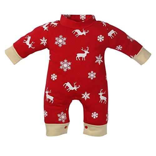 AIMEE7 Pijama NiñO, ReciéN Nacido NiñOs Chicos Chicos Navidad Ciervos Imprimir Mameluco Pijama Trajes De Ropa (Size:12mes, Rojo)