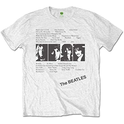 The Beatles Herren T-Shirt White Album Tracks (Back Print), Weiß, Small