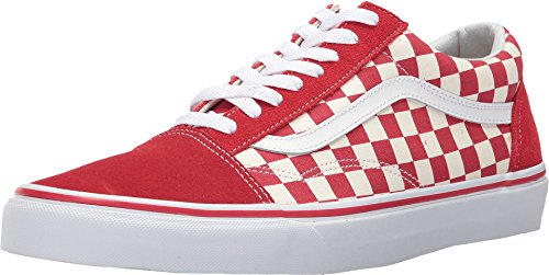 Racing Womens Schuhe (Vans OG Old Skool Primary Check Sneakers (US 10.5 D Men/12 B Women, Racing Red/White))
