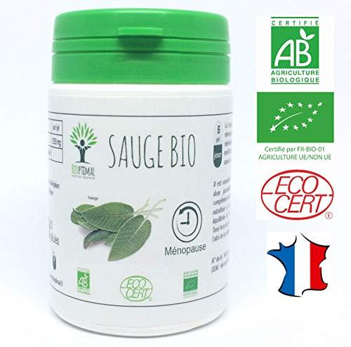 Sauge bio | 60 gélules | Complément alimentaire | Ménopause Bouffée chaleur Règles douloureuses | Bioptimal nutrition naturelle | Fabriqué en France | Certifié par Ecocert | Satisfait ou Remboursé 30j