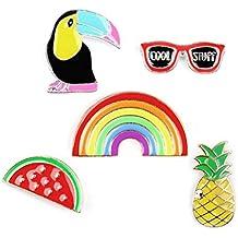corbeau arc en ciel Ananas Verre Badge Set Broche Chemise broche corsage et Pin pour les enfants