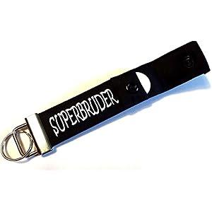 Superbruder - Schlüsselanhänger mit Einkaufschip, Geschenk für Bruder, Schlüsselband mit Chip