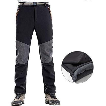 LHHMZ Men's Soft Shell Fleece Lined Hiking Trousers Outdoor Waterproof Breathable Thicken Winter Warm Walking Climbing Pants 3