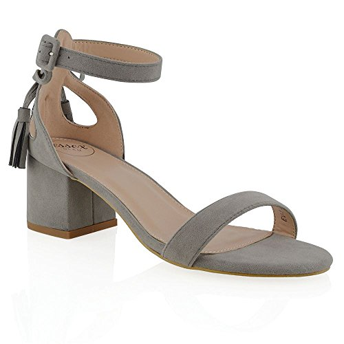 ESSEX GLAM Sandalo Donna Finto Scamosciato Cut-Out Tacco a Blocco Cinturino Caviglia Fiocco Grigio Finto Scamosciato
