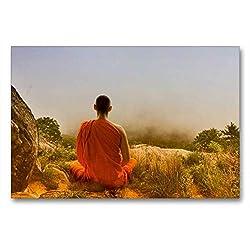 Premium Textil-Leinwand 90 x 60 cm Quer-Format Meditation in Thailand | Wandbild, HD-Bild auf Keilrahmen, Fertigbild auf hochwertigem Vlies, Leinwanddruck von Liselotte Brunner-Klaus