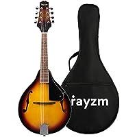 Rayzm Mandolina Tradicional Bluegrass en Color Sunburst Tostado con Funda Acolchada de Conciertos, Una Mandolina Acústica de 8 Cuerdas con Enganche para Correa y Puente Ajustable, Cuerpo de Tilo, Diapasón de Nogal y Mástil de Caoba.