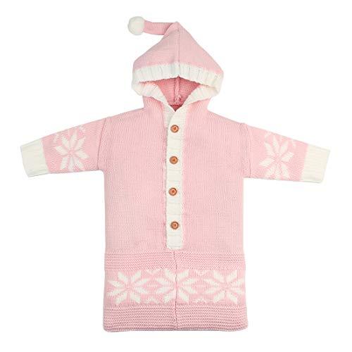 Yeying123 Neugeborene Schneeflocke Einfarbig Schlafsack Kuscheldecke Baby Niedlichen Schlafsack Im Freien Winddicht,Pink