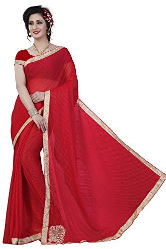 Kamela Saree Polyester Saree With Blouse Piece (Lycra_Red_Red_Free Size)