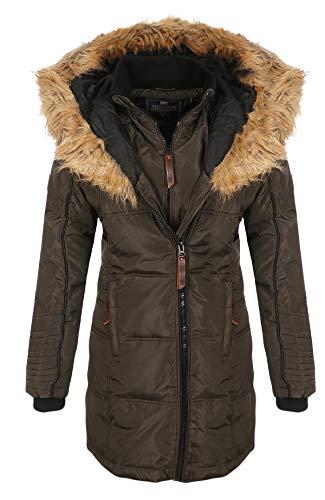 Geographical Norway Belissima Veste d'hiver à Capuche XL pour Femme - Noir - L