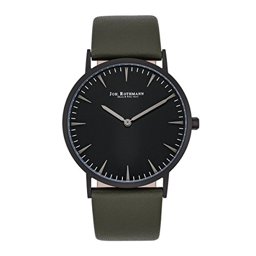Joh. Rothmann Lando Men's / Women's Quartz Watch Black Bracelet in Genuine leather / real leather Dark Green Waterproof / Water-resistant 3 ATM 10030102