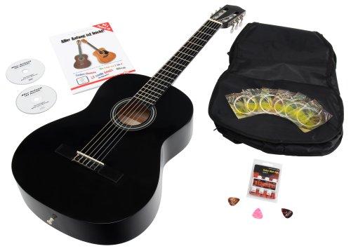 Calida Benita 7/8 Konzertgitarre Schwarz inkl. Zubehör (Akustikgitarre Set mit Gitarrentasche Rucksackgarnitur und Notenfach, Gitarrenschule mit CD & DVD, Stimmpfeife, Plektren, Ersatzsaiten)