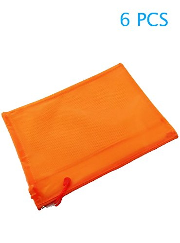6PCS Perlen Matte Hemd Paket Brieftasche pochette-2Compartments PVC Zip Dokument dossier-a5-orange (Tasche Perlen-leder)