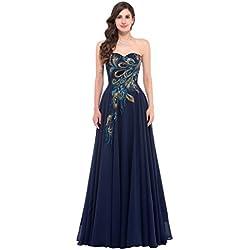 GRACE KARIN Mujer Vestido Azul Marino Elegante Dulce Vestido de Fiesta para Boda Dama de Honor Prom Talla 50