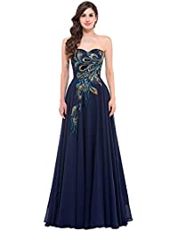 Women Eevening Gown Formal Dress Strapless Chiffon A-Line Long Ball Prom Dress